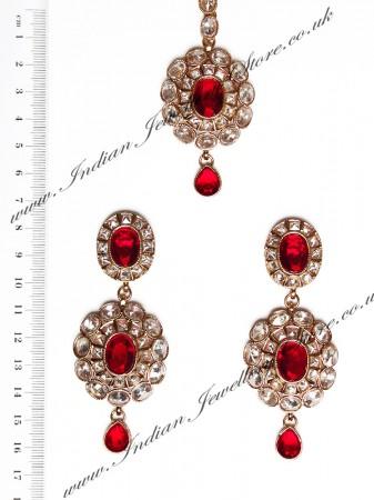 American Diamond Earrings and Tikka IARA04381