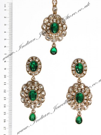 American Diamond Earrings and Tikka IAGA04383