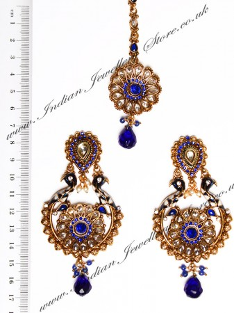 Peacock Indian Earrings and Tikka IALA04387