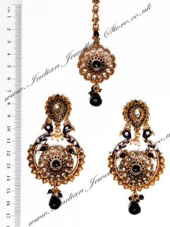 Peacock Indian Earrings and Tikka IABA04388