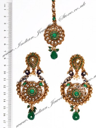 Peacock Indian Earrings and Tikka IAGA04389