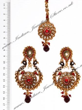 Peacock Indian Earrings and Tikka IARA04391