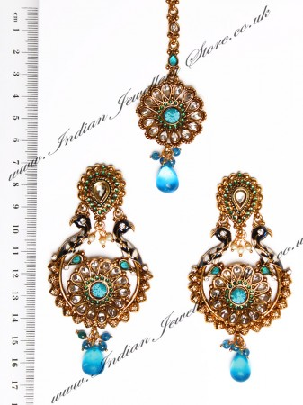 Peacock Indian Earrings and Tikka IALA04392