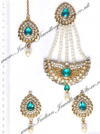 Mia Stud Earrings, Tikka & Pearl Jhumar Set IGCC10250C