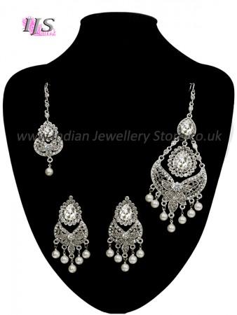 Silver Jhoomer & Earring Set - Aarya ISWC10824