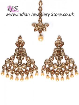 Golden Diamond & Pearl Fashion Earrings and Tikka IANA10994