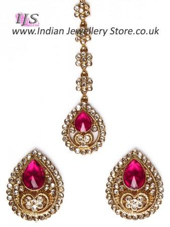 American Diamond Indian Stud Earrings & Tikka - Sumandeep IAWA11005C
