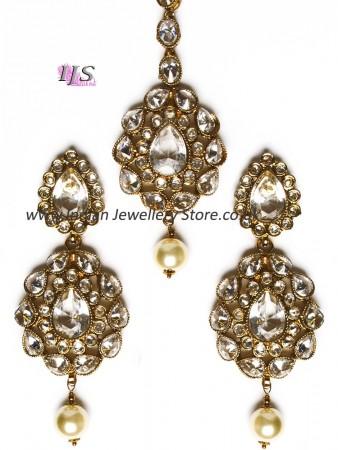 American diamond Indian earrings & tikka in clear IAWA11115