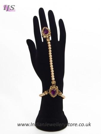 2 x Elegant Pearl & Antique Crystal Indian Hath Panjas - purple HEUL11404