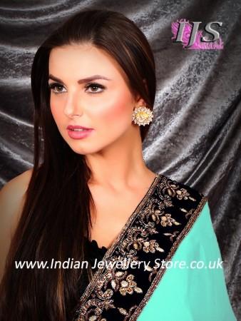 Gold Indian kundan stud earrings