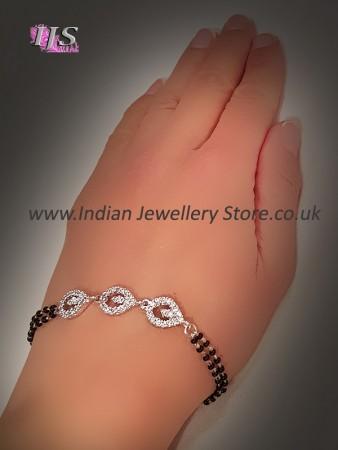 Larger Silver Fine CZ Diamond Hand Mangalsutra MSWA10883
