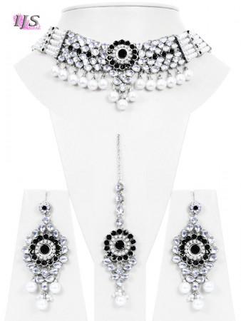 Black, Silver, Pearl & Kundan Choker- Kismat NSBL10683