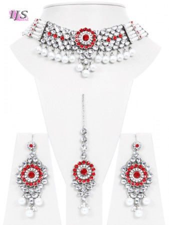 Bright Red, Silver, Pearl & Kundan Choker- Kismat NSRL10685