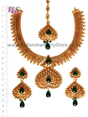 Gold-Green Banjaran Necklace Set BEGP10746