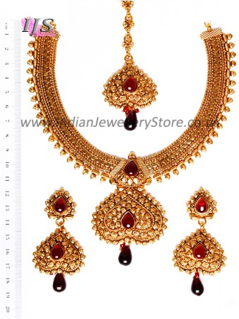 Gold-Maroon Banjaran Necklace Set NERP10747