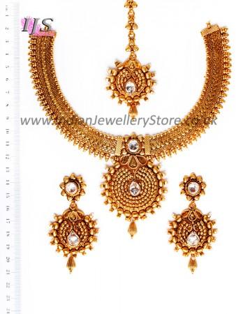 Gold-White Banjaran Necklace Set NEWA10748