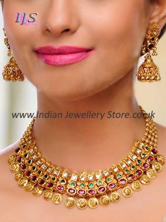 22k Gold Effect Kundan Necklace Set NEMK10749