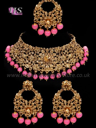 Asian Indian Choker Necklace Set, Pink