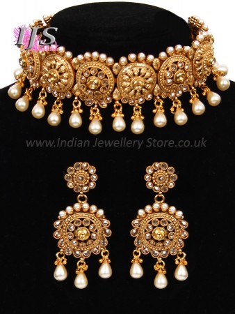 Pearl Drop  Matt Golden LCT Asian Choker & Earrings NENA11048