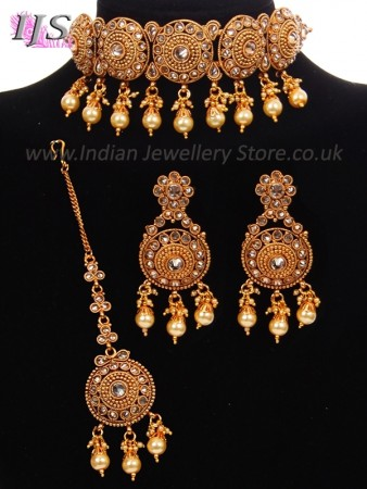 22k Plated Indian Jewellery Set - American Diamond Choker