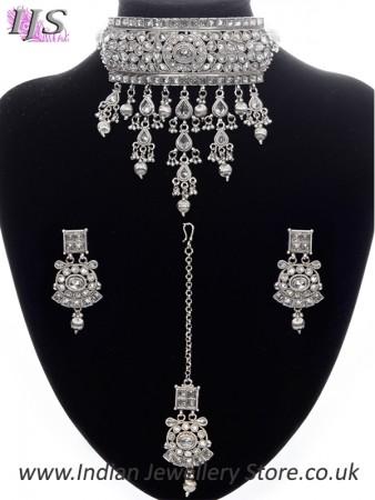 Silver Indian Jewellery Set - Kashmiri American Diamond Choker NSWA11090
