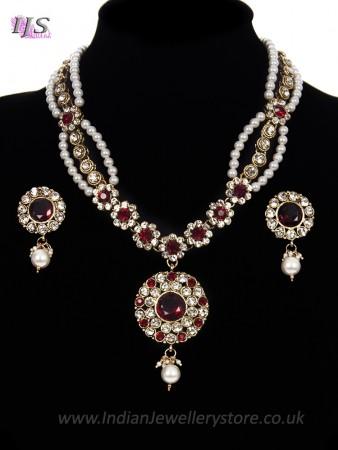 Fancy Pearl Mala Necklace & Indian Stud Earrings - maroon red NARL11472