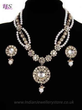 Fancy Pearl Mala Necklace & Indian Stud Earrings - white NAWL11473