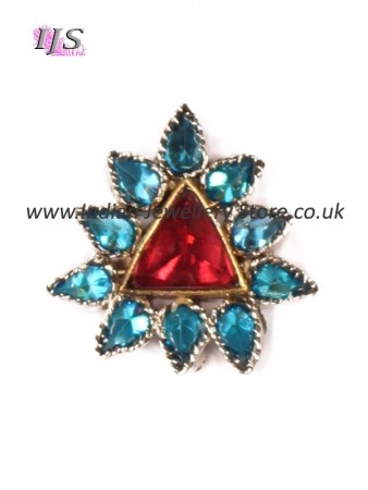 Small silver & turquoise blue & pink ring ASMA10928