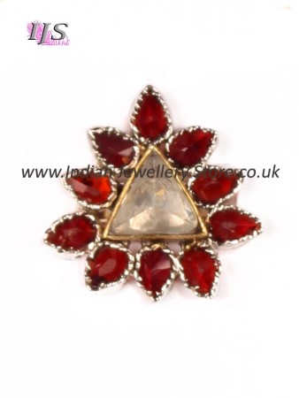 Small garnet red & silver plated ring ASRA10930