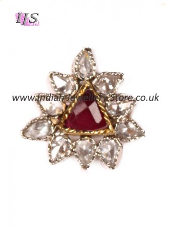 Small ruby red & silver finger ring ASRA10931