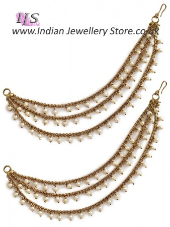 3-line Delicate Antique Pearl Saharas, Indian Earring Chains EAWL11029