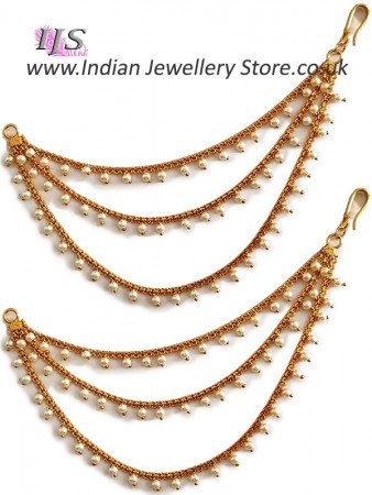 3-line Delicate Gold Pearl Saharas, Earring Chains EEWL11030