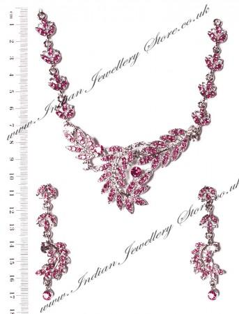 LEAF Silver & Pink Crystal Necklace Set NSPC03839