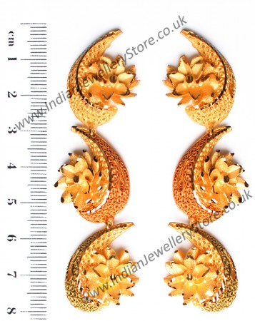 Large Matt Gold 22k Effect Earrings EEWN10380
