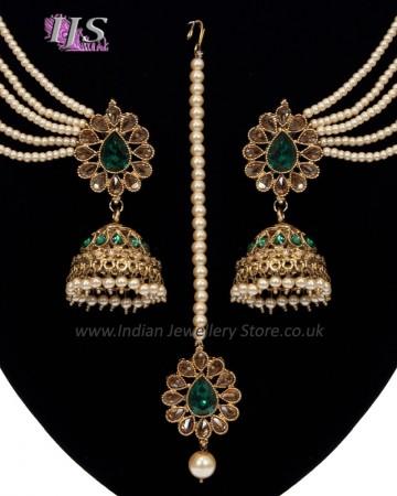 Regal Indian Jhumkas, saharas & tikka jewellery set IAGA11117 - bottle green