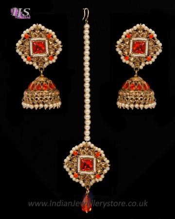 Champagne Indian jhumka earrings & tikka jewellery set - Orange IAOA11124