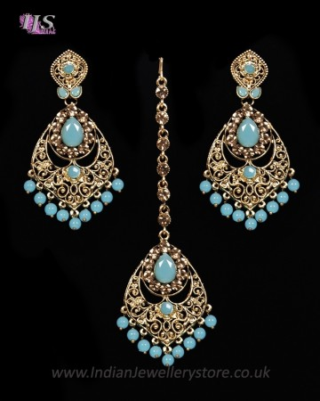 Antique Chandelier earring & Tikka Set, Sky Blue - PRAJANA IALC11359