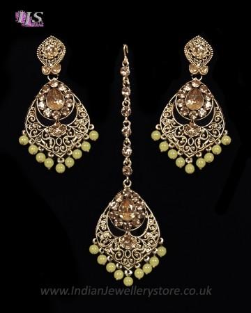 Antique Chandelier earring & Tikka Set, Lemon Yellow - PRAJANA NAYC11360