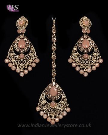 Antique Chandelier earring & Tikka Set, Peach - PRAJANA NAPC11361