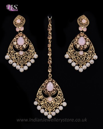 Antique Chandelier earring & Tikka Set, Blush Pink - PRAJANA NAPC11362