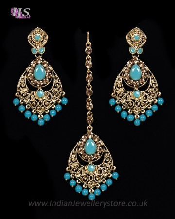 Antique Chandelier Indian Earring & Tikka Set - PRAJANA NANC11365C