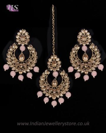 Value Antique Indian Earrings & Tikka Jewellery - blush IAPK11494