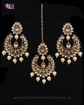 Value Antique Indian Earrings & Tikka Jewellery - Pearl IANK11497