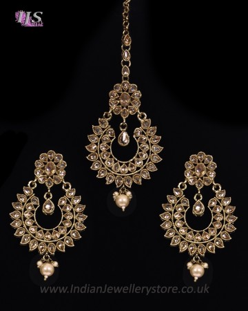 Antique American Diamond, Asian Earrings & Tikka IANA11568