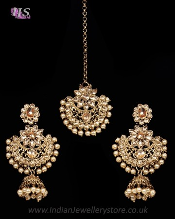 Champagne Antique Medium Tikka & Dangler Jhumki Earring Set - golden champagne (lct) IANK11623