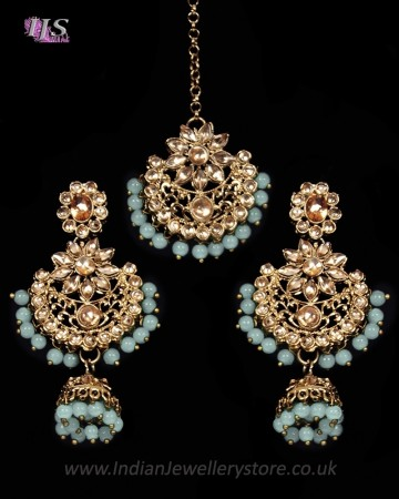 Champagne Antique Medium Tikka & Dangler Jhumki Earring Set IANK11624C