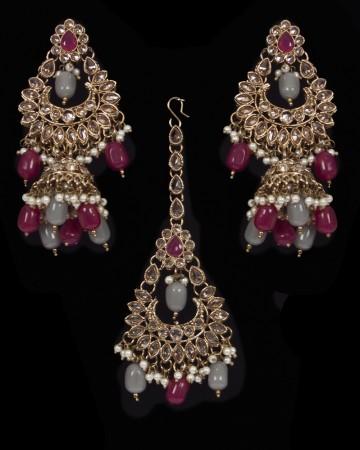 Mughal Antique American Diamond Jhumka Earrings & Tikka Set - ruby maroon red & grey mix IAEA11625