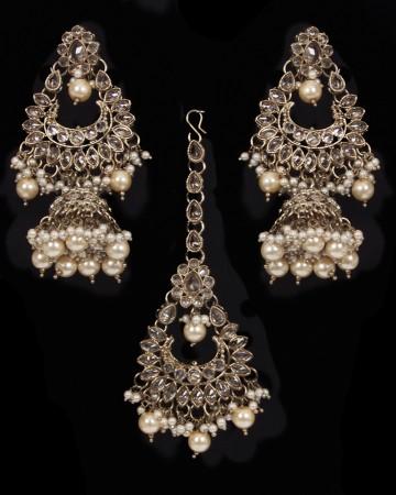 Mughal Antique American Diamond Jhumka Earrings & Tikka Set - golden champagne (lct) IANA11635