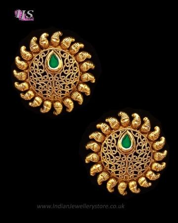Sunray Large Indian 22k Stud Earrings - Green Bottle EEGK11228