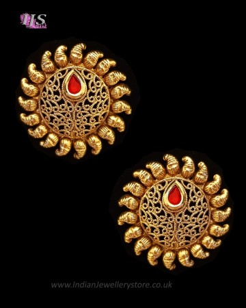 Sunray Large Indian 22k Stud Earrings - Blood Red EERK11230